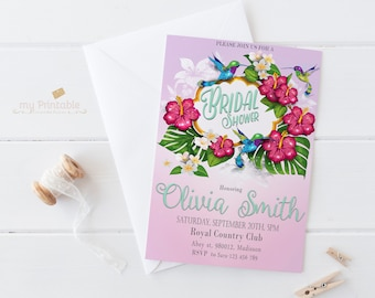Hummingbird Bridal Shower Invitation / Digital Printable Birthday Invite for Wedding / DIY Summer Party