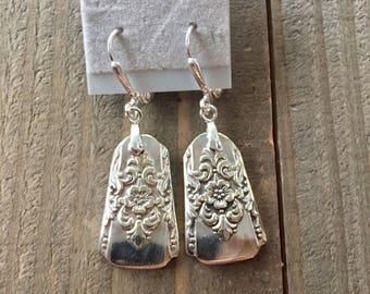 silverware earrings, spoon earrings, Mountain Rose silverware,Mountain Rose  earrings, 1954 silver,  spoon jewelry, 1954 earrings