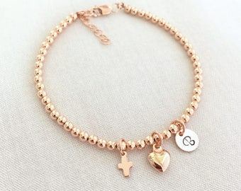 Rose Gold Cross Bracelet Personalized Christening Bracelet