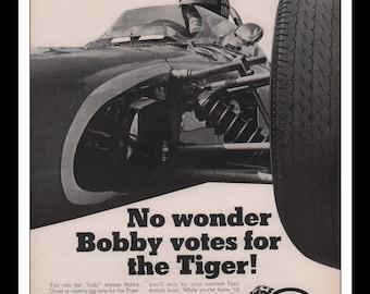 "Vintage Print Ad 1960s : Esso Bobby Unser USAC Automobile Car Wall Art Decor 8.5"" x 11"" each Advertisement"