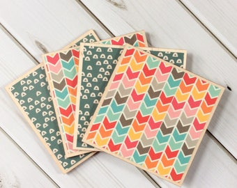 Geometric Decor, Geometric Gifts, Chevron Coasters, Chevron Decor, Bright Home Decor, Wooden Coasters, Teal Coasters, Pink Coasters, Yellow