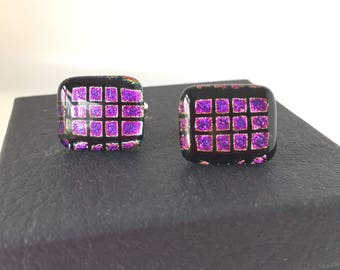 Purple cufflinks, sparkly cufflinks, fused glass cufflinks, bright cufflinks, unusual cufflinks, multicoloured cufflinks, dichroic cufflinks