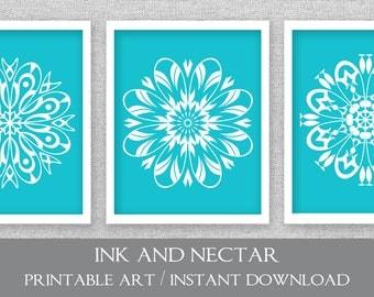 Printable Art, Digital Wall Art, Set Of 3 Prints, Dining Room Art,