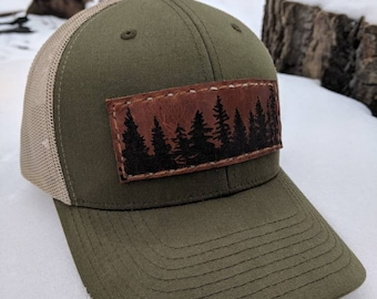 Forest for the Trees Hat with Handmade Recycled Leather Patch - green & tan, adjustable snap back, mesh trucker style