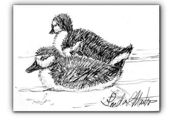 Baby Nursery Duckling Duckies New Mom Spring Original Drawing llmartin ACEO  Collectible Free Shipping USA