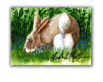 Brown Bunny Rabbit Baby Nursery llmartin Original ACEO New Mom  Watercolor New Mom Free Shipping USA Child Children