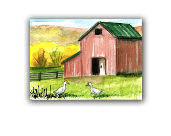 Red Barn Duck Farm  llmartin Original ACEO Father Nursery, New Mom, Toddler Miniature Watercolor Free Shipping USA Child Children