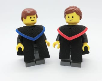 Lego Graduation Minifig + CUSTOM Graduate gown  (in 14 Colour)