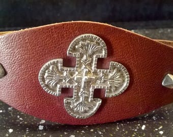 Men's leather bracelet, hand-worked silver cross and studs