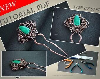 Tutorial wire wrapped hair pin Malachite PDF - wire wrap tutorial  - tutorial wire wrapped jewelry - wire tutorial - wire wrapped workshop