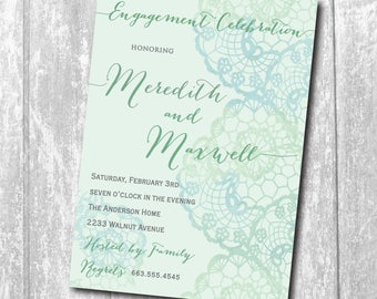 Engagement Party Invitation printable/digital, lace, watercolor, beach, aqua, mint, cocktail, dinner/Digital File/wording can be changed