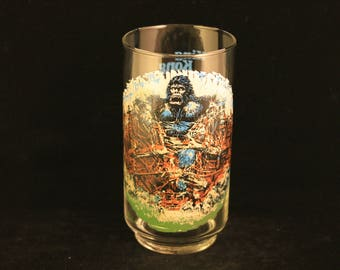 Vintage King Kong Collectible Coca-Cola Limited Edition Glass Skull Island Scene 1976