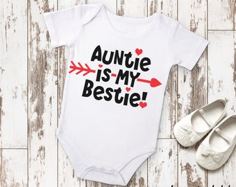 Auntie Is My Bestie Bodysuit or T-Shirt for Baby Toddler Kid Newborn Babies Shower Coming Home Gift Idea Top Creeper Valentine's Day BFF
