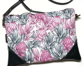 Crossbody Protea Convertible Zipper Clutch / Purse with Zipper Pull and Interchangeable Purse Strap