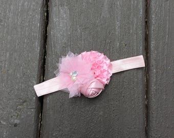 Newborn Headband, Baby Headband, Pink Headband, Pink Shabby Bow, Pink Shabby Headband, Baby Shower, Newborn Shabby Bow, Baby Girl Headband