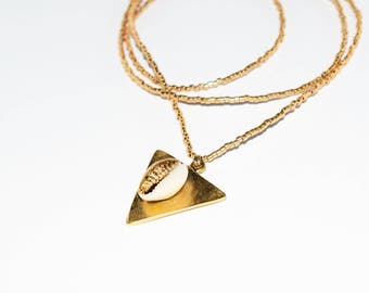 Cleopatra triangle pendant necklace gold cowrie and miyuki beads