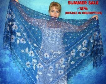 Dark blue shawl,Hand knit shawl,Wedding shawl,Lace russian shawl,Downy embroidered shawl,Kerchief,Bridal cover up,Warm cape,Handmade wrap