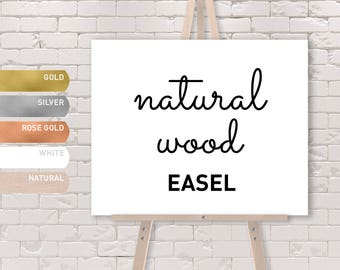 NATURAL WOOD EASEL in Gold, Silver, Rose Gold, White, or Natural Color / Large Floor Stand Easel {or} Tabletop Sign Display / Solid Wood
