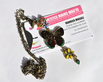 retro vintage butterfly and Flower necklace