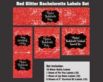 Personalized Bachelorette Party Label Set - Bachelorette Party Labels - Water Bottle Labels - Tic Tac Labels - Lip balm Labels - Red Glitter