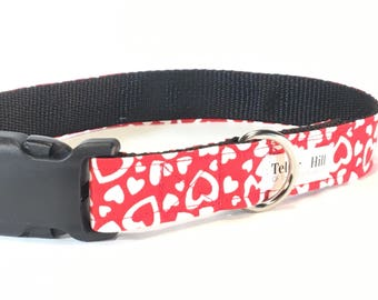 Red Hearts Valentine's Day Dog Collar - red dog collar - Dog Collar - Modern Dog Collar - Girl Dog Collar -Trendy Dog Collar  - gift for her
