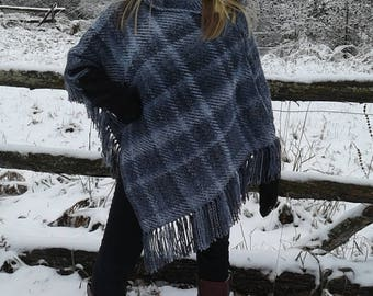 Handwoven Black grey and white poncho