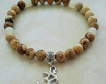 SALE ~ Om Charm Jasper Stone Bead Elastic Bracelet 8 Inches