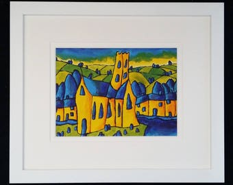"Original Acrylic Landscape Painting 13""x11"" Expressionist Painting in Acrylic Original Impressionism Landscape Expressionism Board Artwork"