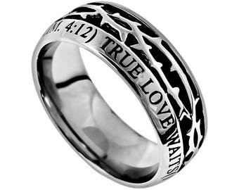 """Crown Of Thorns Ring """"True Love Waits"""""""