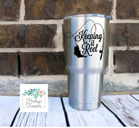 Fishing Decal Keeping It Reel Fishing Monogram Vinyl Decal - Custom vinyl stickers for cups