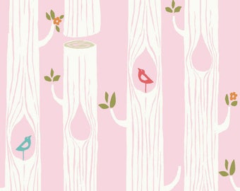 Birch organic cotton tree stripes pink pink trees