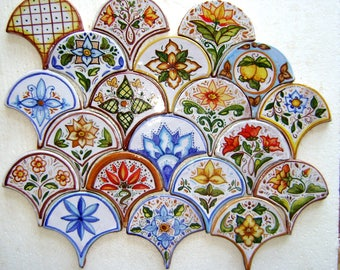 Flakes cm 10 x cm 10 in crafted terracotta and hand decorated