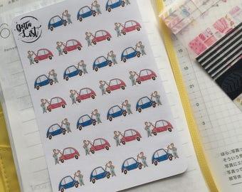 Mini Car Repair/ Service Icon Planner Stickers for Erin Condren, Hobonichi Techo, Happy Planner, Travelers Notebook, Filofax