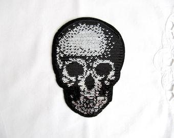 Iron On Sturno Skull Patch,Silver Skull Applique,Sequin Skull Patch,Black Skull Applique,Iron On Skull,Heat tranfer Skull Patch