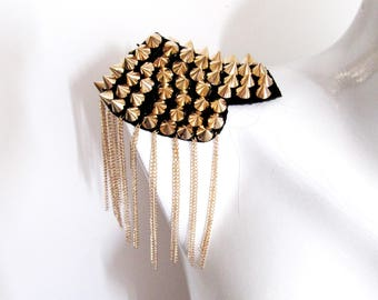 2 PCS.Pietra Epaulet,Gold Spyked Epaulet,Handmade Epaulet,Gold Studs Pads,Shoulder Embellishment,Gold Epaulet,Gold Spiyked Epaulet 3D Pads