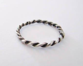 Rope ring, Bride ring, Silver ring, Stacking ring, Simple ring, Ring