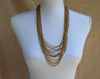 Vintage Trifari Gold Tone Multi Strand Chain Necklace