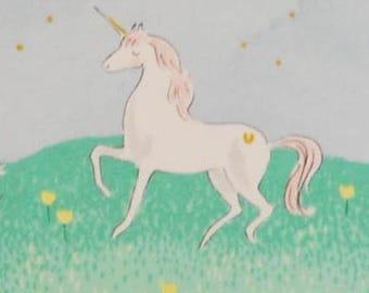 FAT QUARTERS- Cotton Fabric- Unicorn Fabric- Gold Star Fabric- Magic Fabric- Metallic Fabric- Mint Fabric, Animal Fabric- Kids Fabric- Green