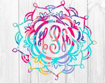 Mandala Decal - Mandala Monogram Decal - Lilly Mandala - Yeti Decal - Lilly Pulitzer Inspired Monogram Decals - Monogram Car Decal