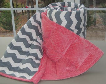 Weighted Blanket for Adult (40x 82) Teen (40x63) Small child blanket (37x52) Twin weighted blanket, autism blanket, Anxiety- Gray chevron
