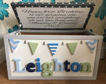 Personlised hand painted toy box made to your specifications with personal message