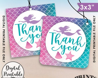 """Mermaid Party Thank You Tags, Birthday Party, Under the Sea Watercolor Style Thank You Tag, 3x3"""" tags on 8.5x11"""" Printable Instant Download"""