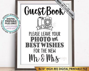 "Guestbook Photo Sign, Leave Photo and Best Wishes for the New Mr & Mrs, Selfie Guestbook Sign, PRINTABLE 8x10"" Instant Download Wedding Sign"