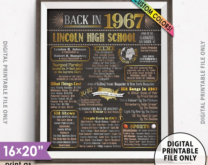"""51st Reunion Class of 1967 Reunion Poster, Back in 1967 Flashback 51 Years Ago Reunion, Chalkboard Style PRINTABLE 8x10/16x20"""" 1967 Poster"""