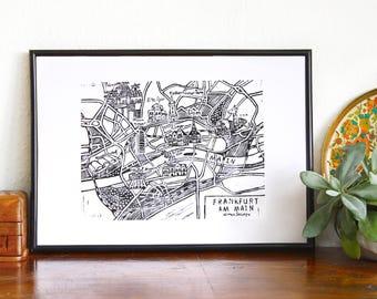 Frankfurt Map Lino Print / Frankfurt Landkarte Linoldruck / Lithograph City Map / Handcarved Viewpoint Map