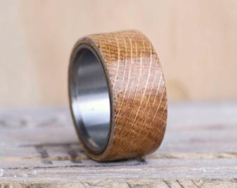Men's Wedding Band: Wide ALL Jack Daniels Barrel Stave Wood Inlay Ring. Outdoor staghead, staghound natural shed elk antler