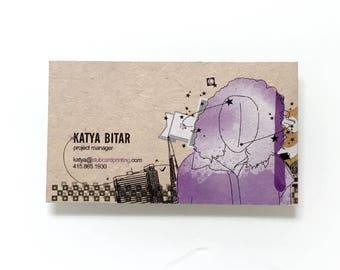 Custom Printed Kraft Business Cards, 18pt Natural Kraft Business Cards With White Ink. 30% Post-Consumer Waste.
