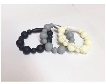 Toddler Bracelet - SET of THREE - Silicone Chew Beads - Fidget Toy - BPA Free - Food Grade - Kids Bracelet - Black Gray White Classy Sensory