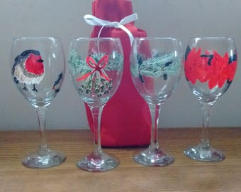 Traditional handpainted Christmas wine glasses