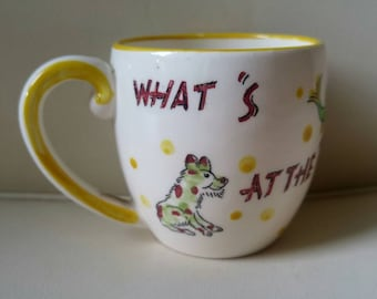 Vintage Nasco children's mug / Whats at the Bottom of the Well / fish / 1950 / collectable / series / milk , juice / Hard to find / NY , LA